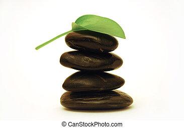 pierres, spa, feuille, vert