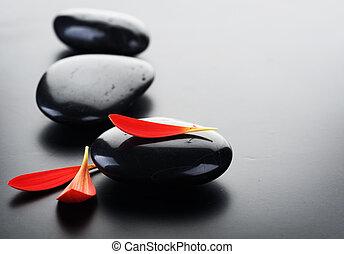 pierres, spa, rouges, pétales