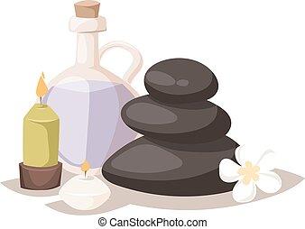 pierres, spa, vecteur, illustration., arôme