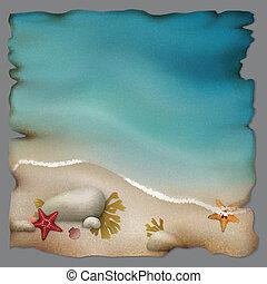 pierres, starfishes, papier, rivage, retro