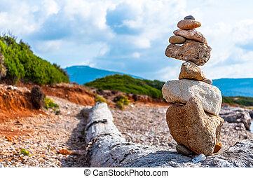 pierres, tas, côte