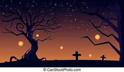 pierres tombales, cimetière, halloween, fond, nuit