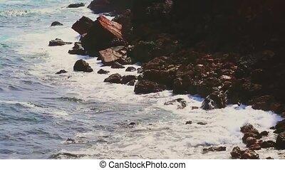 pierres, vagues océan, rochers, orage, falaise, nature