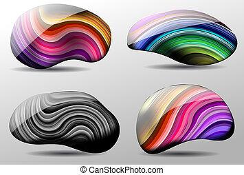 pierres, vecteur, coloré