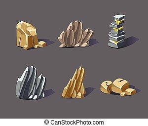pierres, vecteur, dessin animé, minéraux