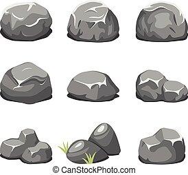 pierres, vecteur, dessin animé, rochers