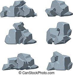 pierres, vecteur, ensemble, dessin animé