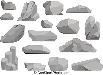 pierres, vecteur, illustration, rochers