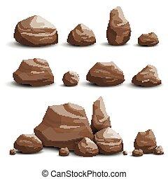 pierres, vecteur, rochers