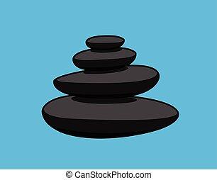 pierres, vecteur, zen
