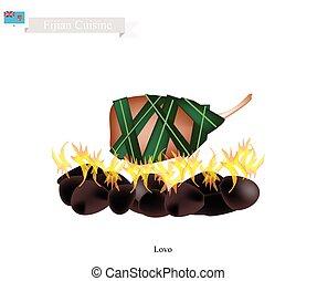 pierres, viande, lovo, traditionnel, cuit, fidjien, chauffé