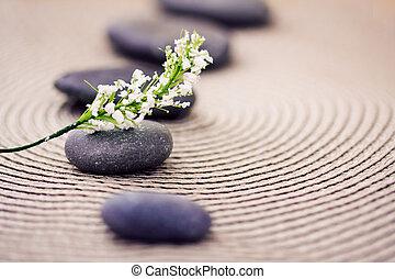pierres, wellness/beauty, spa, fleurs, représenter, soin