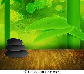 pierres, zen, arrière-plan vert
