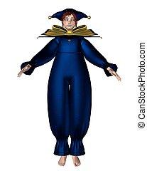 Pierrot Clown Doll - Blue Stars