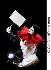 Pierrot with blank sign