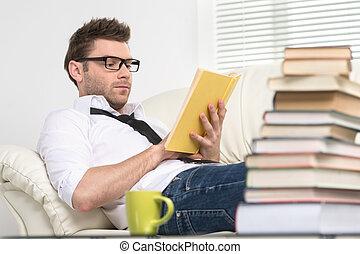 pierwszy plan, exam., mężczyźni, młody, przygotowanie,...