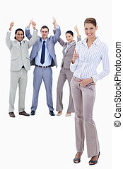 pierwszy plan, ludzie, kciuki, tło, sekretarka, przeciw,...
