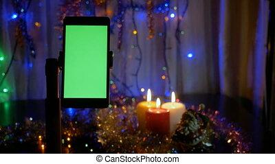 pierwszy plan, smartphone, screen., rok, tło, zielony, nowy