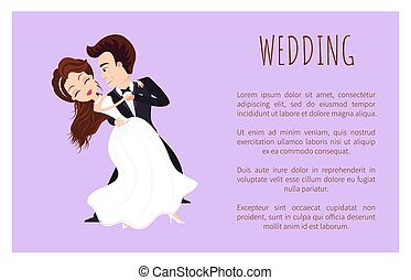 pierwszy, taniec, ślub, afisz, para, newlywed, taniec