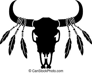 pierze, byk, amerykanka, krajowiec, krowa, illustration), czaszka, (vector, albo