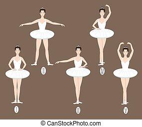 pies, ballet, cinco, piernas, posiciones, básico, bailarín, se realiza, se manifestar, correcto, colocación, brazos, joven