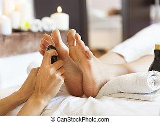 pies, balneario, salón, masaje, humano