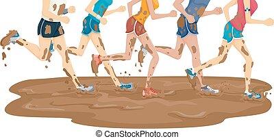 pies, barro, corra, maratón, grupo