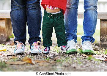 pies, bebé, padres