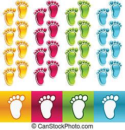 pies, colorido