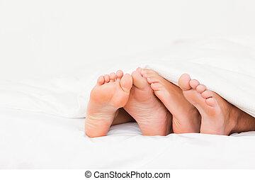 pies, cuatro, cama
