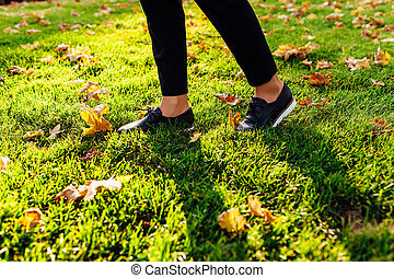 pies, en, shoes, ambulante, por, el, pasto o césped, otoño, hojas