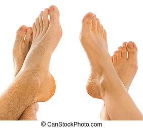 pies, en, uno al otro