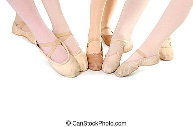 pies, estudiantes, ballet