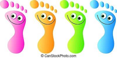 pies, feliz