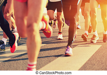 pies, gente, corriente, maratón, carrera