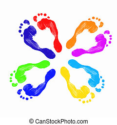 pies, impresiones, humano