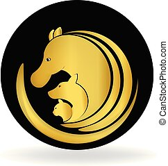 pies, koń, i, kot, złoty, logo