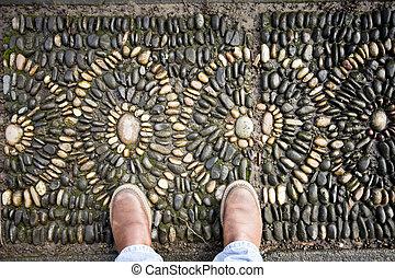 pies, piedra, dos, mosaico