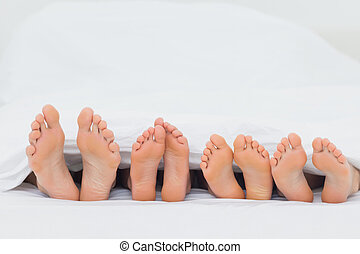 pies, su, actuación, cama, familia