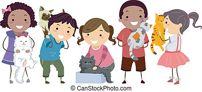 pieszczoch, koty, wtykać, dzieciaki