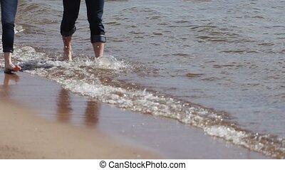 pieszy, śliczny, plaża, para, młody