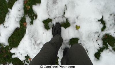 pieszy, śniegowy człowiek