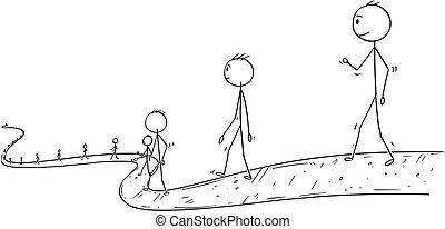 pieszy, albo, nieskończoność, ludzie, zakończenie, biznesmeni, ścieżka, kreska, rysunek