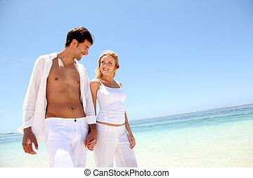 pieszy, biała plaża, para, piaszczysty