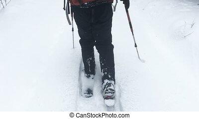 pieszy, biały śnieg, człowiek, snowshoes