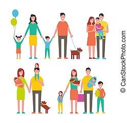 pieszy, członki, rodzina, razem, litery, rysunek