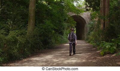 pieszy, człowiek, ścieżka, most, ku, nierówny, wzdłuż