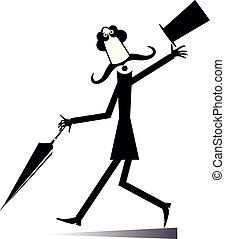 pieszy, górny, odizolowany, ilustracja, kapelusz, wąsy, człowiek