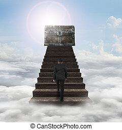 pieszy, górny, skarb skrzynia, drewno, bliski, schody, człowiek