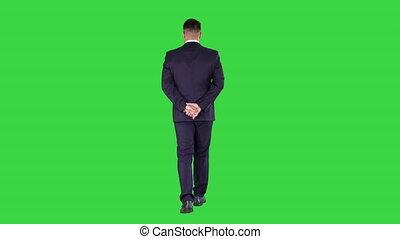 pieszy, jego, dookoła, chroma, wstecz, ekran, przeglądnięcie za, zielony, key., dzierżawa wręcza, biznesmen